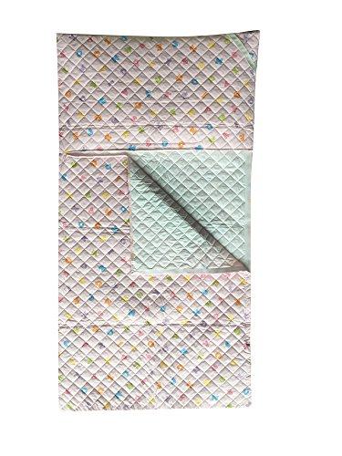 Sacco nanna asilo - letterine colorate rosa - da 2 a 6 anni - tessuto trapuntato 100% cotone - prodotto in italia