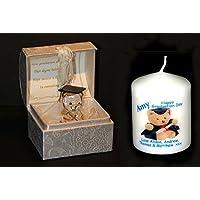 Cristal graduación Teddy, Memento regalo un regalo perfecto a decir felicidades y personalizado incluye tarjeta de vela de Cellini