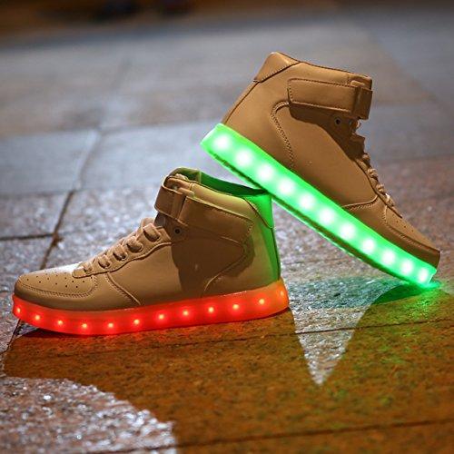 DoGeek LED Chaussures Lumineuse Lumière Basket LED- Homme Femme LED Basket Mode- 7 Couleur Lumière Chaussures-USB Charger Blanc