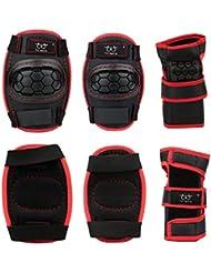 Skyrocket per Bambini Set Tripla Protezione per Skateboard, Ginocchiere, Gomitiere e Polsiere, Colore: Rosso e Nero