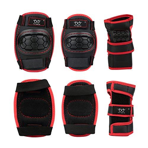 Kinder Rollerskates inliner Skateboard Schützer Protektoren für Knies Ellenbogen Handgelenks in rot/schwarz Größe M