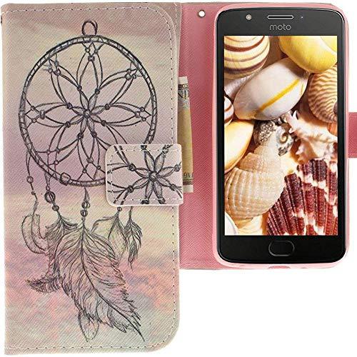 CLM-Tech kompatibel mit Motorola Moto E4 Hülle Tasche Kunstleder, PU Leder-Tasche Lederhülle, Traumfänger rosa grau