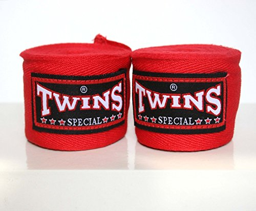 Twins Special Muay Thai Boxing Hand Wraps aus Baumwolle Solid Farbe Rot -