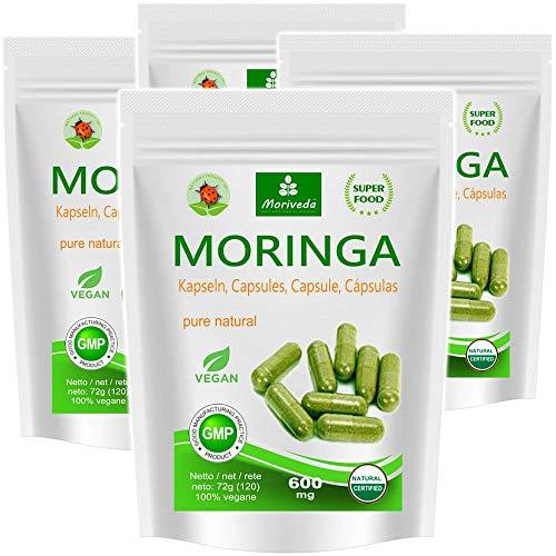 Moringa Kapseln 480 VEGGIE Oleifera hochdosiert 600mg – 100% vegane Rohkost von MoriVeda (4x120 Kapseln)