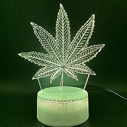 3D Illusion Led Nachtlicht Lampe Botanik Cannabis Marihuana Büro Bar Zimmer Dekorative Lampe Usb Oder Batteriebetriebenes Nachtlicht