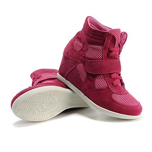 Shenni Femmes Classique Engrener Mode Chaussures Milieu Talon Compensé Formateurs 8522-2 Rose