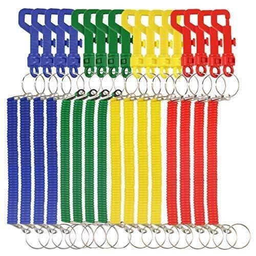 th Different Color Retractable Keyring Schlüsselanhänger - Stretchy Spiral Neon Colors Keychain Schlüsselanhänger ()