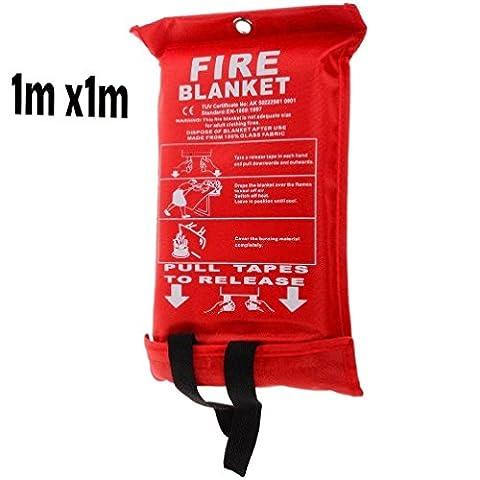 Fire Couverture extincteurs sécurité incendie Détecteurs de fumée Home Kitchen Shop 1m x 1m