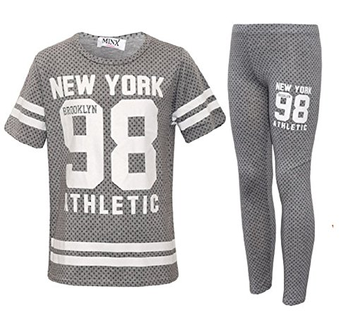 Girls Leggings T Shirt Set New York Camo Print Summer Fashion Clothing (11-12, New York Grey Dotted)