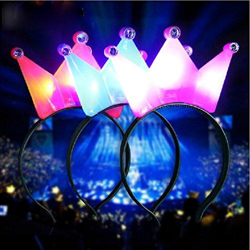 Lumineux Kostüm - Baban Haarreif Krone Haarband helles Blinklicht LED Kostüm für Halloween Weihnachten Party, rosa, couronne