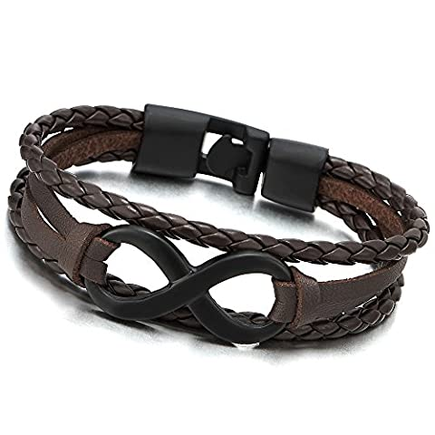 Black Infinity Love Number 8 Brown Leather Bangle Bracelet for Men Women Three-Row Wristband