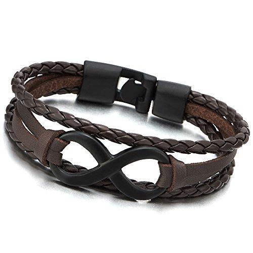 COOLSTEELANDBEYOND Trois Rangées Noir Amour Infini Numéro 8 Bracelets de l'amitié - Brun Bracelet en Cuir pour Hommes et Femmes