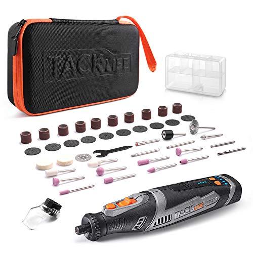 Tacklife Akku Multifunktionswerkzeug 8V, Set mit 43 Zubehörteilen, 5 variable präzise Drehzahlsteuerungen (5000-30000 U/min, 2.0 Ah Li-lon, Tragetasche, USB-Ladekabel)-RTD02DC