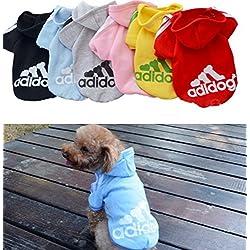Ropa de Perros Abrigo Suéter de Algodón Caliente Suave con Capucha Nueva Camiseta Casual Adidog para Mascotas Perros Gatos,M-Azul