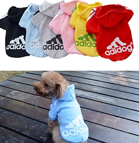 Lomire Ropa de Perros Abrigo Suéter de Algodón Caliente Suave con Capucha Nueva Camiseta Casual Adidog para Mascotas Perros Gatos,L-Azul