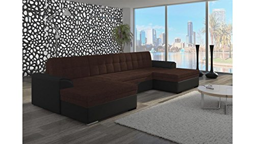 JUSTyou Vento Canapé d'angle panoramique Sofa Ensemble de Salon Tissu structuré Simili Cuir (lxLxH): 165x365x81 cm Noir Brun