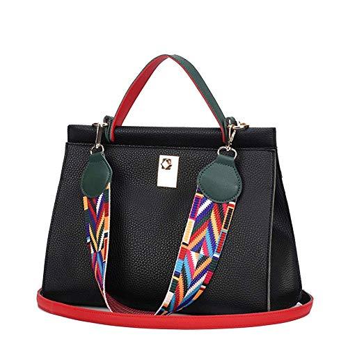 HKJhk Lässige Mode Elegante Damen PU Handtasche Schultertasche Multi-Pocket Diagonal Cross Wild Fashion Handtasche (Farbe : SCHWARZ)