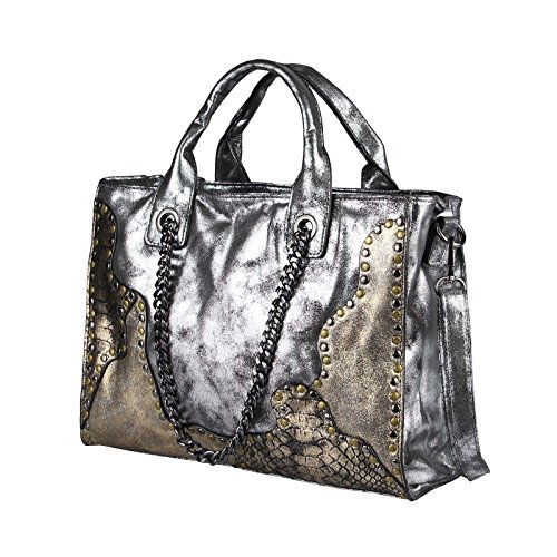 OBC Only-Beautiful-Couture Borsa Messenger - Nero-argento, ca 26x33x10 cm (BxHxT) argento