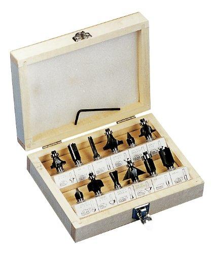 Preisvergleich Produktbild Kraftixx Fräsersatz für Elektro Oberfräser (8mm-Schaft, 12 Oberfräser, im Holzkoffer) passend für Bosch POF 1400 ACE, Einhell TE-RO 1255 E