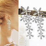 Gleader a largo lindo Crystal Rhinestone de la flor de la borla cuelga el banquete de boda de los...