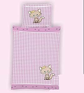 2-Teilige wunderschöne lustige Wende - Microfaser Kinderbettwäsche pink/weiss mit Reißverschluss Fotodruck 1x 135x200 Bettbezug + 1x 80x80 Kissenbezug , Öko-Tex Standart 100