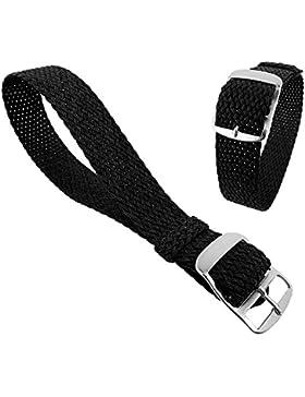 Minott Ersatzband Uhrenarmband Perlonband Durchzugsband Textilband 28691, Farbe:schwarz, Stegbreite:22mm, Schließe...