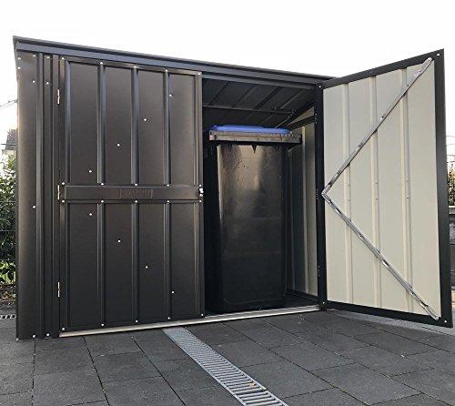 Globel Industries Metallgerätebox und Mülltonnenbox 7×3 Anthrazit // 236x101x132 cm (BxTxH) // Aufbewahrungsbox und Gartengerätebox