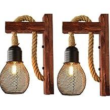 Industriële Hout IJzer Henneptouw Wandlamp creatieve persoonlijkheid Lift Katrol Muurlampen Inrichting for binnenverlichting Barn Restaurant met lampenkap (Size : Pack of 2)