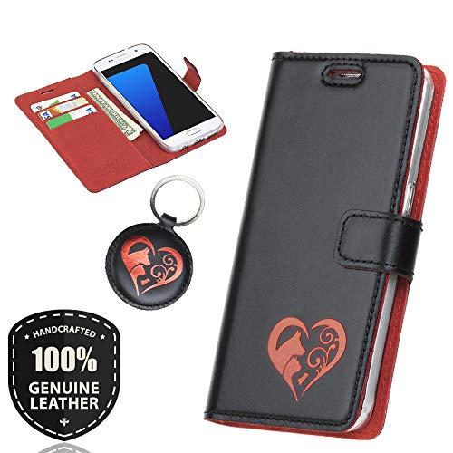 SURAZO Rot Animals - Premium Vintage Ledertasche Schutzhülle Wallet Case aus Echtesleder Costa Farbe Schwarz für Lenovo/Motorola Moto G5 (5,00 Zoll)