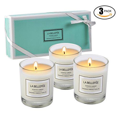 La bellefÉe candele profumate, set regalo di 3 candele della linea fragranze floreali e fruttate, candele per massaggi aromaterapici, matrimoni, barattoli da viaggio di vacanza