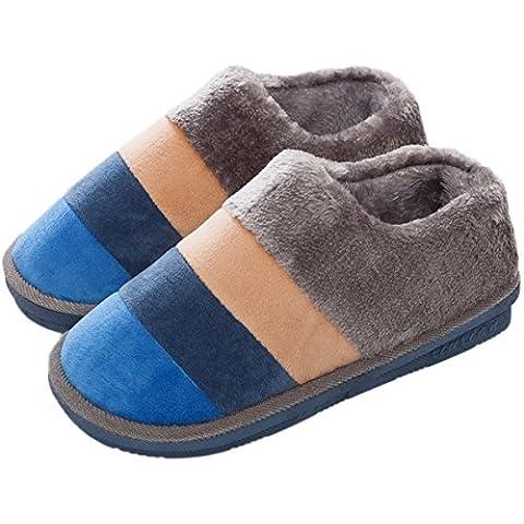 Minetom Mujer Hombre Otoño Invierno Zapatillas De Estar Por Casa Pareja Interior Skidproof Algodón Zapatos