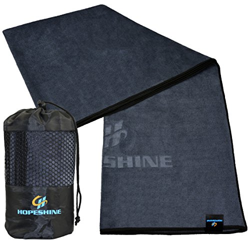 HOPESHINE Yoga Handtuch Rutschfest Microfaser Yogahandtücher für die Yogamatten 183 X 61cm (Grau-schwarzer Rand, 183 X 61cm)