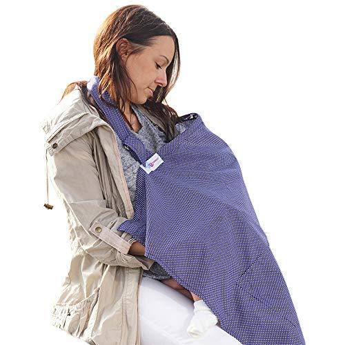 Grembiule Allattamento Copertura Poncho per Allattamento al Seno Top Sciarpa Coperta Blu pois con Sacchetto