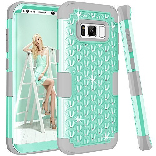 Galaxy S8 Plus Fall, Kamii [Diamond Series] stoßfest 3 in1 Hard PC + Silikon Hybrid Nieten Strass Kristall Diamant Bling Full Body Schutz Schutzhülle für Samsung Galaxy S8 Plus, Aqua+Grey Camo Crystal Strass