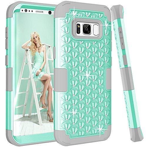 Galaxy S8Plus Fall, Kamii [Diamond Series] stoßfest 3in1Hard PC + Silikon Hybrid Nieten Strass Kristall Diamant Bling Full Body Schutz Schutzhülle für Samsung Galaxy S8Plus, Aqua+Grey -