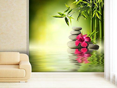 Fototapete Hibiscus on Bamboo - weitere Größen und Materialien wählbar - DEUTSCHE PROFI QUALITÄT von Trendwände