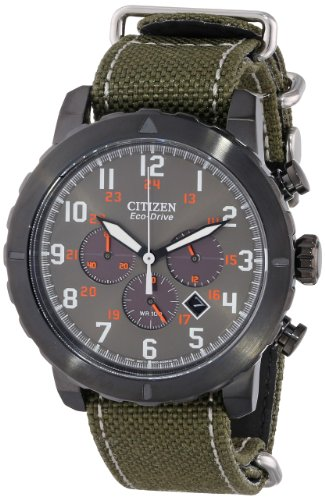 Citizen CA4098-14H Men's Military Eco-Drive Grey Dial Green Nylon Strap Chronograph Watch - Citizen Eco Drive Mens Chronograph