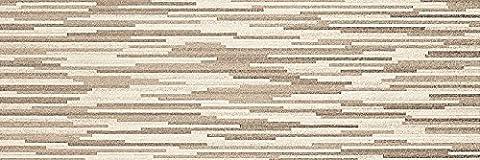 White & Beige Stone Effect Ceramic Matt Wall Tiles Bathroom Kitchen Cloakroom - 33.3 cm x 100 cm