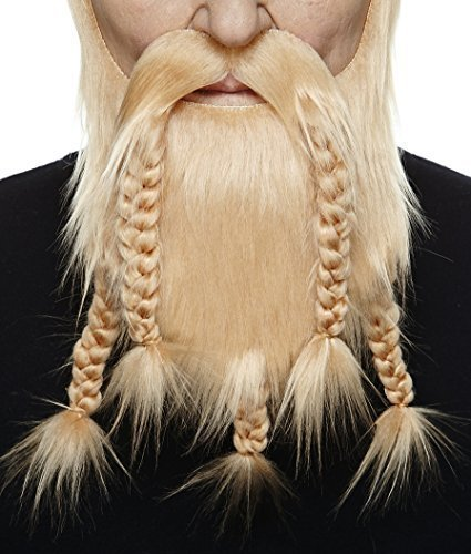 Mr Kostüm Gum - Mustaches Selbstklebende Neuheit Viking Dwarf Fälscher Bart Falsch Gesichtsbehaarung Kostümzubehör für Erwachsene Blond Farbe