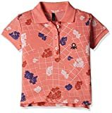 #5: United Colors of Benetton Baby Girls' Polo (16A3089C0153I9011Y_Orange and Multicolor_1Y)