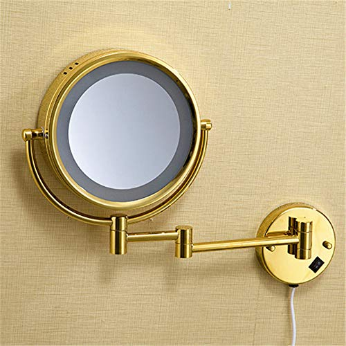 VHVCX Bad Spiegel 8'Runde Wand Kosmetikspiegel 3X 1X Vergrößerungsspiegel Led Messing Goldene...