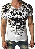 T-Shirt - Totenkopf - Skull - mit Strass Steinen - weiß Größe M