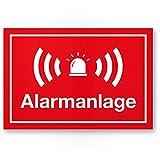 Alarmanlage Kunststoff Schild (rot 30 x 20 cm) - Achtung/Vorsicht Alarmgesichert - Hinweis/Hinweisschild Alarm - Haus/Gebäude / Objekt