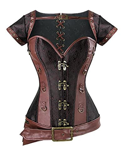 Charmian Women's Spiral Steel Boned Steampunk Retro Brocade and Leather Overbust Corset with Jacket and Belt Light-Brown Large