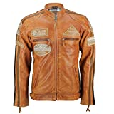 Xposed - Giacca da Motociclista, da Uomo, in Vera Pelle Morbida, Stile Vintage Urbano Nero XS