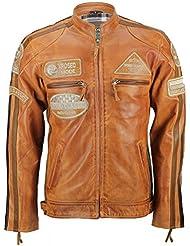 En cuir véritable souple-Racing Biker Rétro Vintage urbaine Veste 3 couleurs