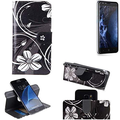 K-S-Trade Schutzhülle für Doogee Y6 4G Hülle 360° Wallet Case Schutz Hülle ''Flowers'' Smartphone Flip Cover Flipstyle Tasche Handyhülle schwarz-weiß 1x