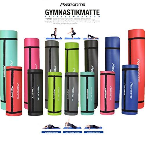 MSPORTS Gymnastikmatte Professional 190x100x1,2 cm - Rubinrot | inkl. Übungsposter + Tragegurt | Hautfreundliche - Phthalatfreie Fitnessmatte - sehr weich - extra dick - Yogamatte