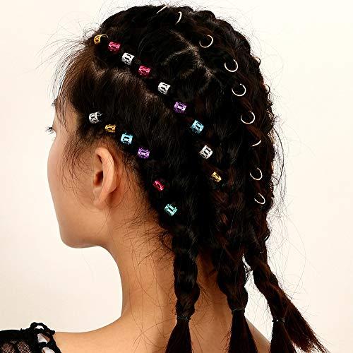 Sanwood 7Tressen Haar Flechten Ringe Multicolor Hair Styling Flechten Dreadlocks Ring Braid Hoop mit Kopfbedeckungen Decor