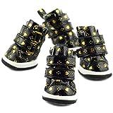 Semoss 4 Set Lieblich PU Leder Haustier Schuhe Hunde Schuhe Anti Rutsch Hundeschuhe Wasserdicht Pfotenschutz Hunde Boots,Schwarz,Größe:XS,4.4 x 3.5 cm (L x B)